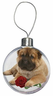 Shar Pei Dog with Red Rose Christmas Tree Bauble Decoration Gift, AD-SH2RCB