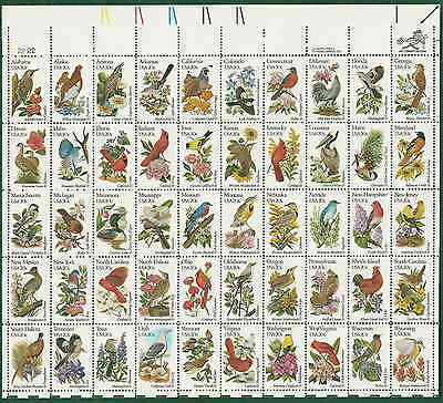 #2002a  STATE BIRDS and FLOWERS PANE OF 50 ( 20c )  MNH