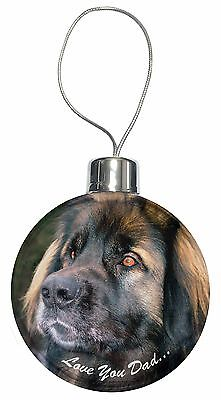 Leonberger Dog 'Love You Dad' Christmas Tree Bauble Decoration Gift, DAD-68CB