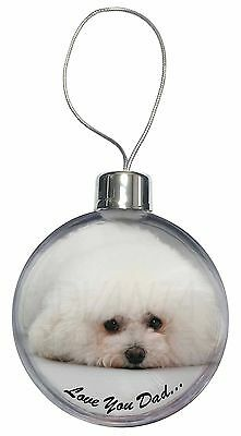 Bichon Frise /'Love You Dad/' Glass Paperweight in Gift Box Christmas P DAD-166PW