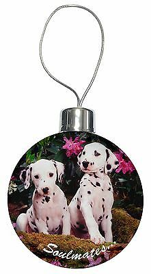 Dalmatian Puppy Dogs 'Soulmates' Christmas Tree Bauble Decoration Gif, SOUL-28CB