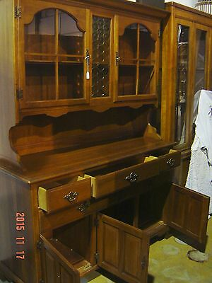 Make OFFER Vintage Mid Century Kling Solid CHERRY Hutch Sideboard Amber Glass