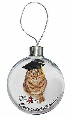 Graduation Tabby Cat 'Congratulations 2016' Christmas Tree Bauble Deco, GRAD-2CB