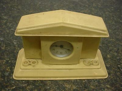 Vintage Lux Novelty Clock House with  Column Slots in a Cream Bakelite Case D378