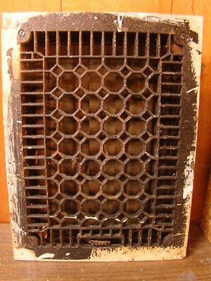 Antique Late 1800's Cast Iron Heating Grate Honeycomb Design 15.75 X 11.75 B