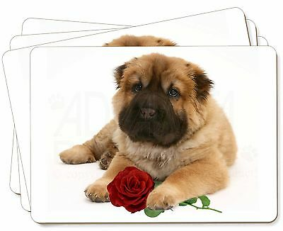 Shar Pei Dog with Red Rose Picture Placemats in Gift Box, AD-SH2RP