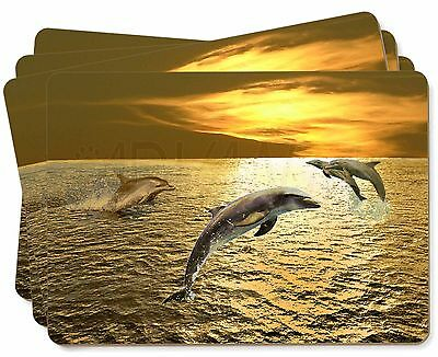 Gold Sea Sunset Dolphins Picture Placemats in Gift Box, AF-D4P