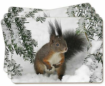 Forest Snow Squirrel Picture Placemats in Gift Box, AS-4P