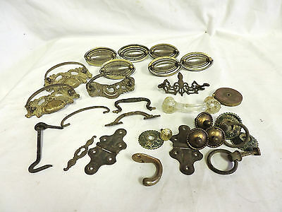 Large Lot Of Antique & Retro Drawer Pulls Hardware Parts Handles Escutcheon