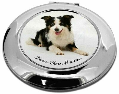 Tri-Colour Border Collie 'Love You Mum' Make-Up Round Compact Mir, AD-BC35lymCMR