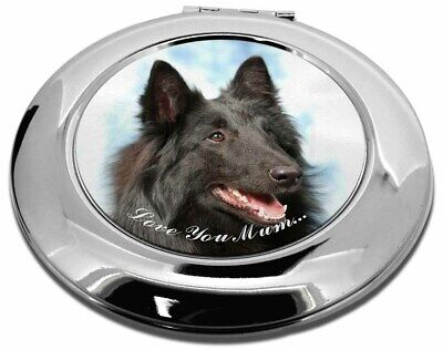 Black Belgian Shepherd 'Love You Mum' Make-Up Round Compact Mirror, AD-BS3lymCMR