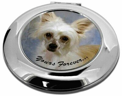 Chinese Crested Powder Puff Dog Make-Up Round Compact Mirror Christ, AD-CHC3yCMR