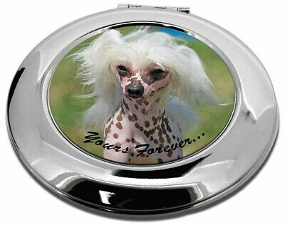 "Chinese Crested Dog ""Yours Forever..."" Make-Up Round Compact Mirror, AD-CHC4yCMR"
