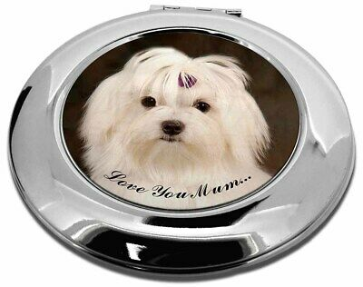 Maltese Dog 'Love You Mum' Make-Up Round Compact Mirror Christmas G, AD-M1lymCMR