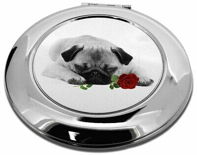 Pug (B+W Photo) with Red Rose Make-Up Round Compact Mirror Christma, AD-P92R2CMR