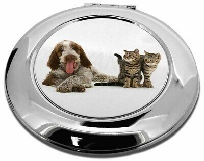 Italian Spinone Dog and Kittens Make-Up Round Compact Mirror Christma, AD-SP1CMR