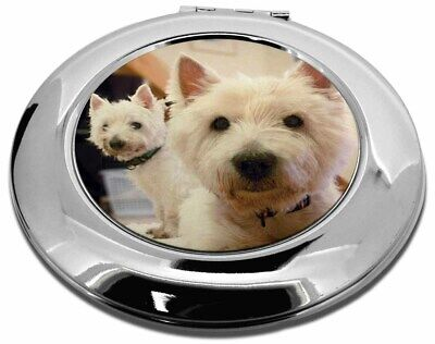 West Highland Terrier Dogs Make-Up Round Compact Mirror Christmas Gift, AD-W1CMR