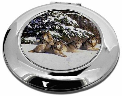 Wolves in Snow Make-Up Round Compact Mirror Christmas Gift, AW-8CMR