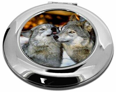 Wolves  in Love Make-Up Round Compact Mirror Christmas Gift, AW-9CMR