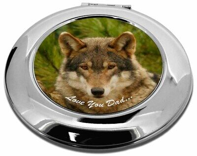 Wild Wolf 'Love You Dad' Make-Up Round Compact Mirror Christmas Gift, DAD-152CMR