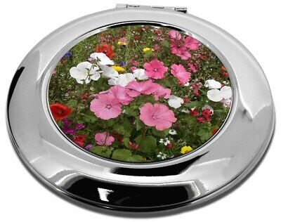 Poppies and Wild Flowers Make-Up Round Compact Mirror Christmas Gift, FL-10CMR