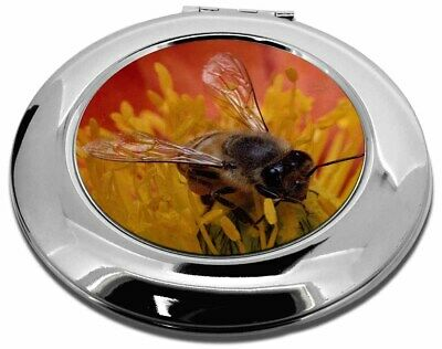 Honey Bee on Flower Make-Up Round Compact Mirror Christmas Gift, IBE-1CMR