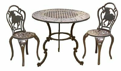 Cast Iron Outdoor Table & Chairs - Horses