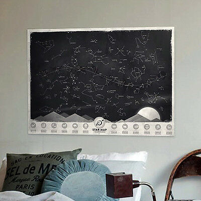Night Sky Constellations Star Map Glow in the Darkness Zodiac Chart Poster New