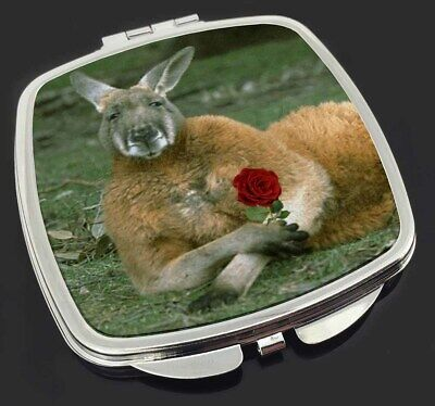 Kangaroo with Red Rose Make-Up Compact Mirror Stocking Filler Gift, AK-1RCM