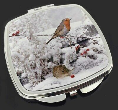 Snow Mouse and Robin Print Make-Up Compact Mirror Stocking Filler Gift, AMO-5CM
