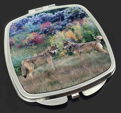 Wolves Print Make-Up Compact Mirror Stocking Filler Gift, AW-45CM