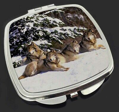 Wolves in Snow Make-Up Compact Mirror Stocking Filler Gift, AW-8CM