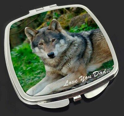 Wolf 'Love You Dad' Make-Up Compact Mirror Stocking Filler Gift, DAD-153CM