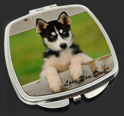 Husky Pup 'Love You Dad' Make-Up Compact Mirror Stocking Filler Gift, DAD-56CM