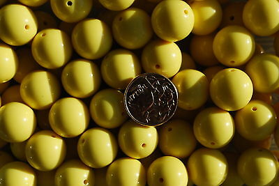 Bubblegum beads - Yellow - 20mm - pk of 10 - jewellery bead necklace