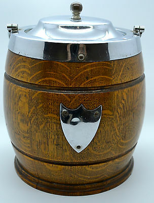IMPRESSIVE Antique Oak Biscuit Barrel Tobacco Jar Stainless Plated China Iiner