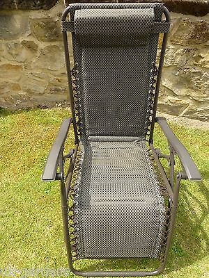 Garden Chair - Padded Brown Sun Lounger Recliner Chairs - Weatherproof Textoline