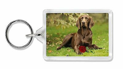 German Shorthaired Pointer with Red Rose Photo Keyring Animal Gift, AD-GSP1RK