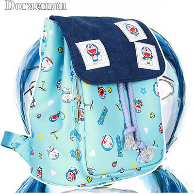 Cute Anime Doraemon PU Printing Backpack School Bag Handbag Women Girl Gift New