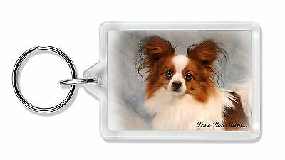 Papillon Dog 'Love You Mum' Photo Keyring Animal Gift, AD-PA1lymK
