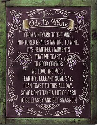 Ode To Wine Funny Humorous Poem Be Classy Get Smashed Tin Metal Beer Bar Sign