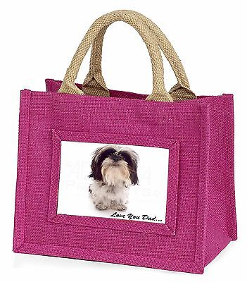 Shih-Tzu 'Love You Dad' Little Girls Small Pink Shopping Bag Christm, DAD-124BMP