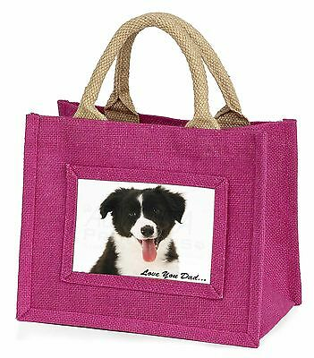 Border Collie Pup 'Love You Dad' Little Girls Small Pink Shopping Bag, DAD-17BMP