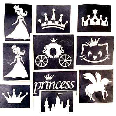 10x stencils princess, crown glitter tattoo face painting airbrush  prof quality