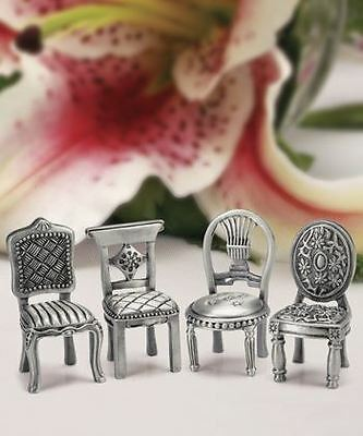 6 Assorted Pewter Chair Name / Note Wedding Place Cards Holders Favours Gifts