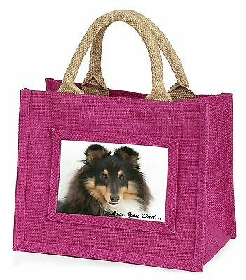 Tri-Col Sheltie Dog 'Love You Dad' Little Girls Small Pink Shopping , DAD-108BMP