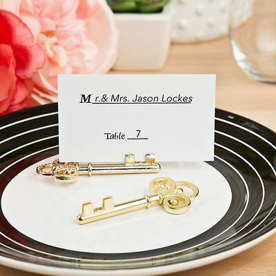 6 Ornate Gold Skeleton Key Name / Note Wedding Place Cards Holders Favours Gift