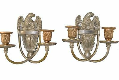 Pair Cast Bronze Nickel Plated Federal Candleholders / Wall Sconces with Eagle