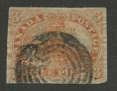 Canada 1852 Pence Beaver 3d orange red Thin Paper #4d VF used