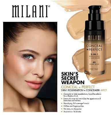 Milani Conceal + Perfect 2 In 1 Liquid Foundation  Concealer  (GLOBAL SHIP)